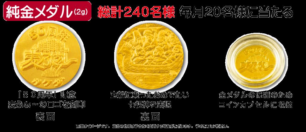 純金メダル(2g)240名様毎月20名様に当たる。【表面】「50周年」記念麦ふぁ~のロゴを刻印  【裏面】宝船に乗ったおめでたい七福を表現 金メダルの保護のためコインカプセルに金を収納 画像はイメージです。賞品の仕様は予告なく変更する場合がございます。予めご了承ください。